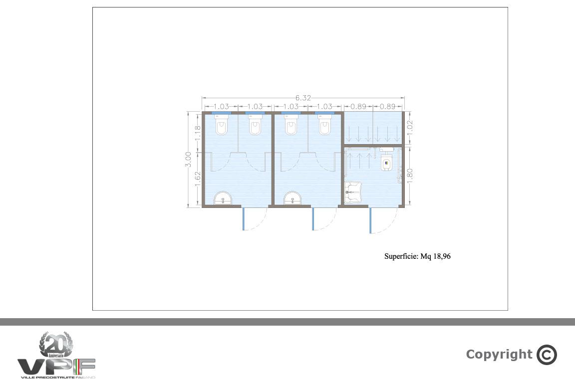 Progetto Bagno 3 Mq modulo bagno prefabbricato per campeggi e stabilimenti balneari